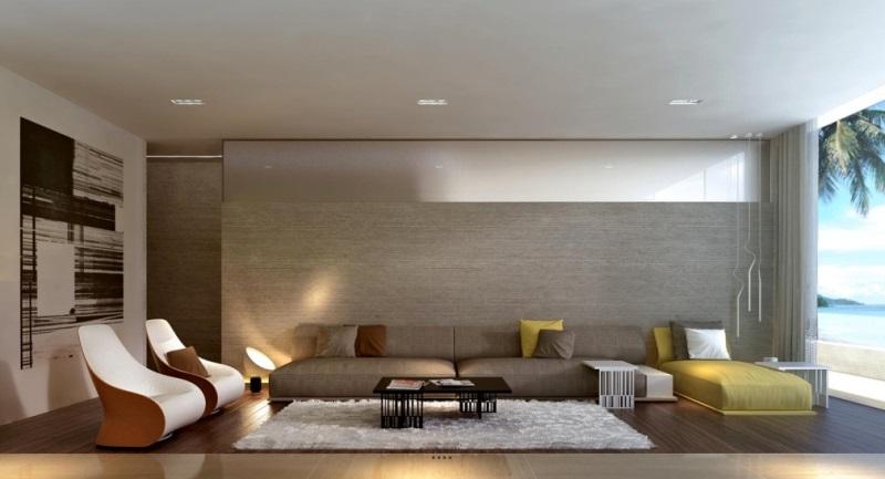 Ánh sáng trắng của đèn LED giúp tôn lên sự sang trọng và tạo cảm giác dễ chịu cho phòng khách của gia đình.